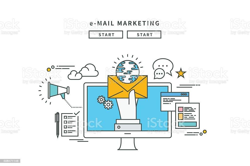 Lignes simples, à de messages E-MAIL Marketing, design moderne de vector illustration - Illustration vectorielle