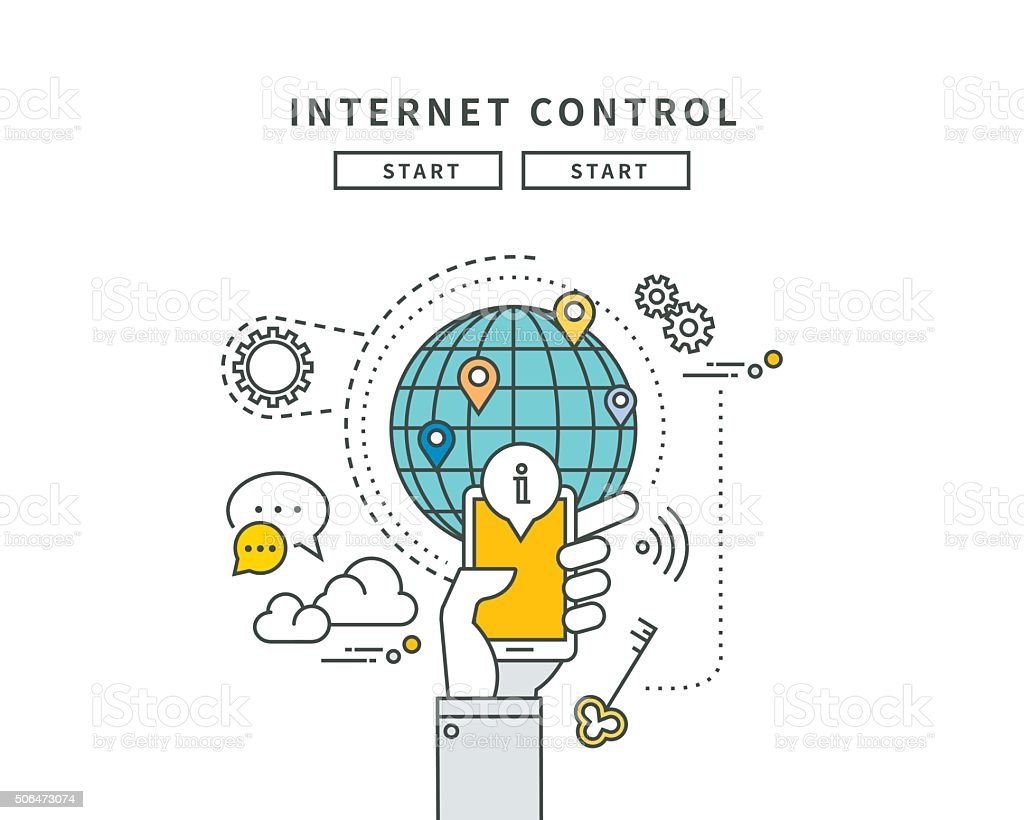 simple line flat design of internet control, modern vector illustration vector art illustration