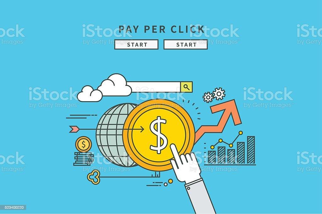 Ligne design plat simple de payer par cliquez sur - Illustration vectorielle