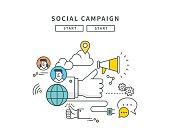 simple line flat design of social campaign, modern vector illustration