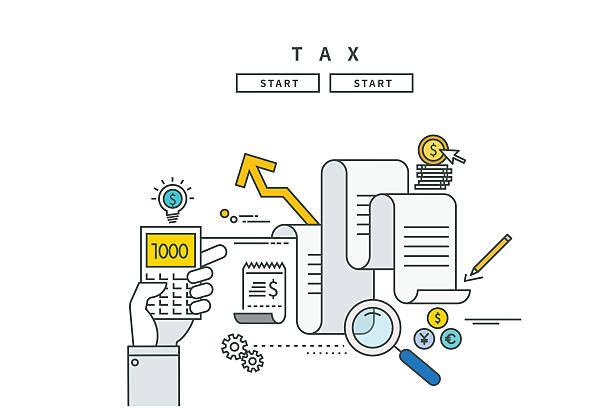 simple line flat design of tax, modern vector illustration simple line flat design of tax, modern vector illustration budget patterns stock illustrations