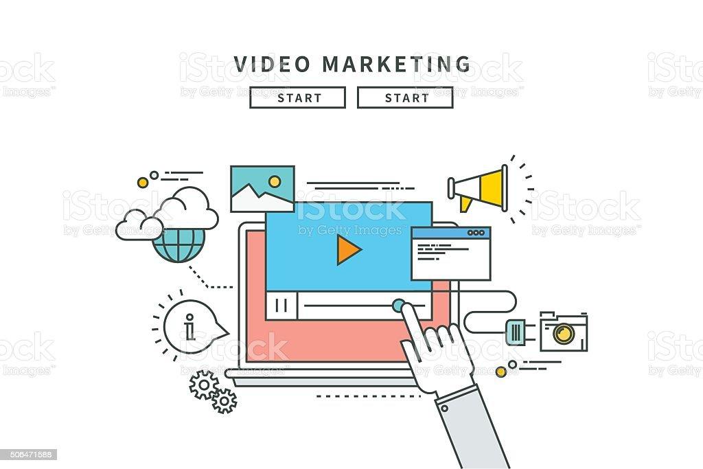 Lignes simples de la vidéo marketing, design plat moderne vector illustration - Illustration vectorielle