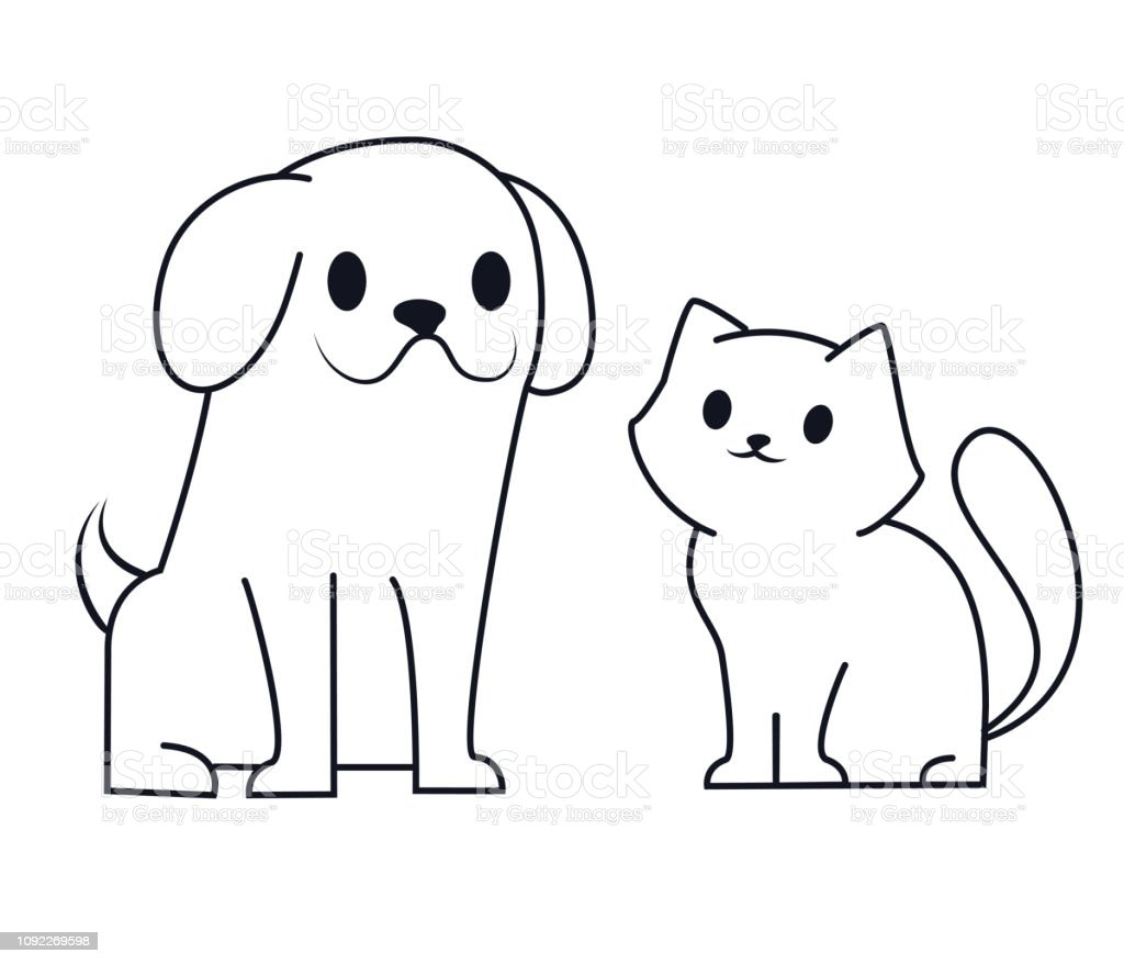 Simple Line Icon Design Of Puppy And Kitten Cute Little