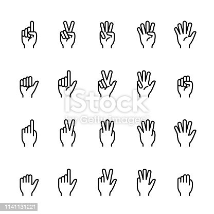 Simple line icon set of Finger counting. Pixel perfect icons, thin line icon set