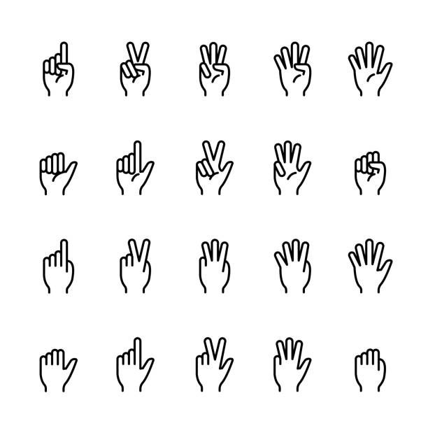 Simple line icon set of Finger counting Simple line icon set of Finger counting. Pixel perfect icons, thin line icon set counting stock illustrations