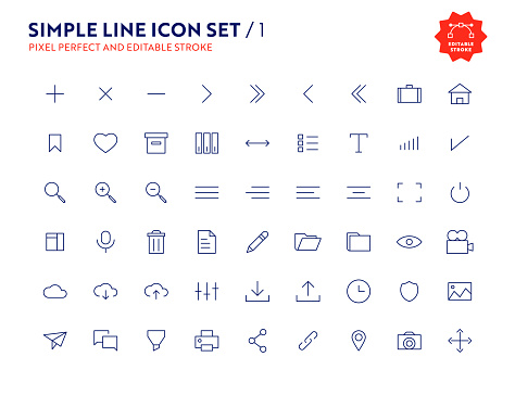 Account web Icon Set. UI Elements. Account Vector, Pixel Perfect and Editable Stroke Icons for Web, Mobile and UI Design