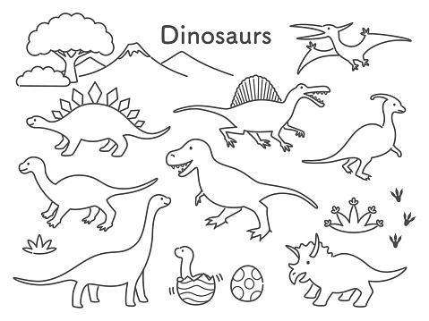 simple line illustration of dinosaurs