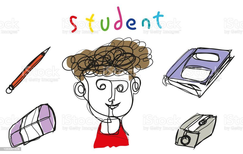Basit çizgi çizim öğrenci. vektör sanat illüstrasyonu