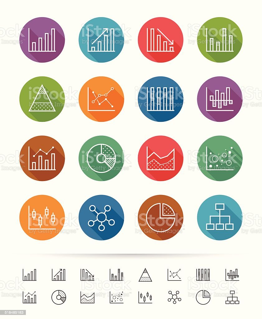 Simple line style : Chart and Graph icons set vector art illustration