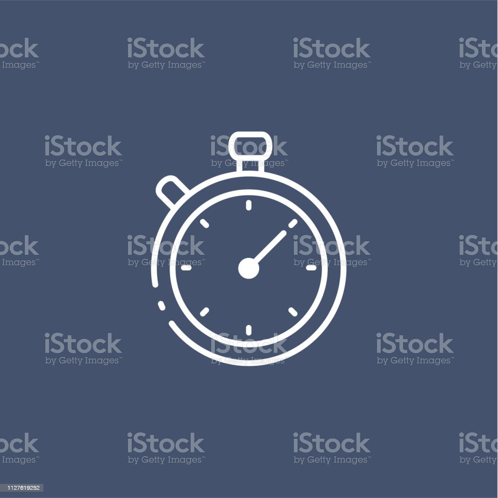 Simple Line Timer Icon On Dark Background Stock Vector Art