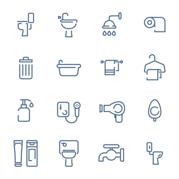 simple line toilet icons set vector art illustration