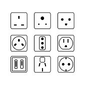 Simple line vector electric socket in flat. Set icon illustration.