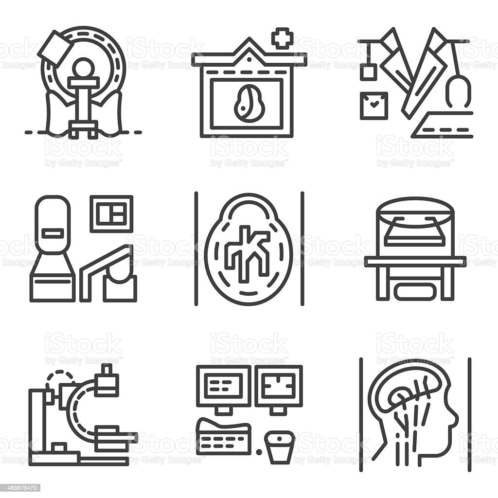 Simple line vector icons for MRI elements vector art illustration