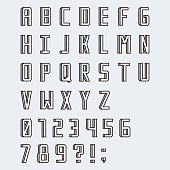 Simple linear blocky vector font with numbers