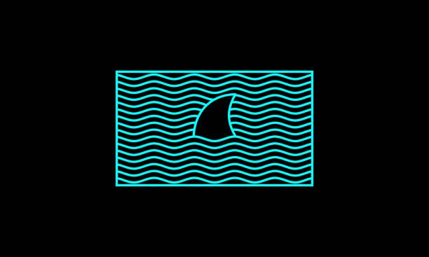Simple Lines Shark And Waves Illustration Lines Vector Graphic Illustration animal fin stock illustrations
