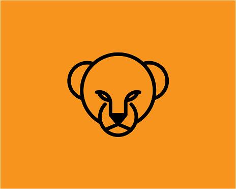 Simple Lion Lioness Cub Head Logo