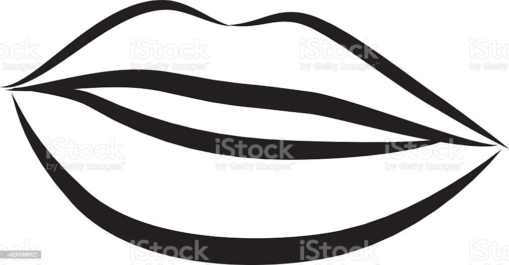simple lips contour illustration stock vector art amp more