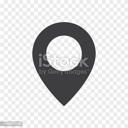 Vector illustration flat design of simple location mark isolated on transparent background. Map pointer icon.