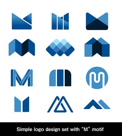 "Simple logo design set with ""M"" motif. Vector illustration."