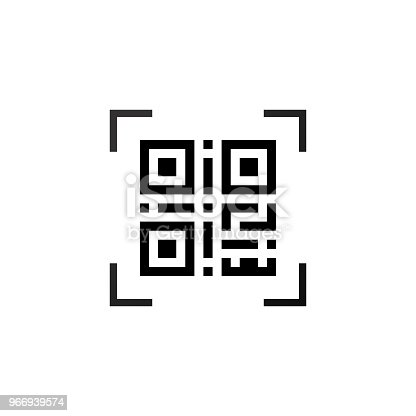 Simple machine readable qr code sign icon