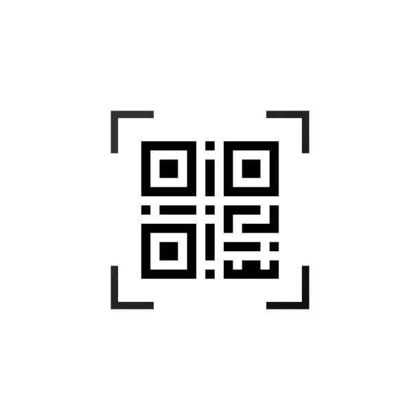 Simple machine-readable qr code Simple machine readable qr code sign icon coding stock illustrations