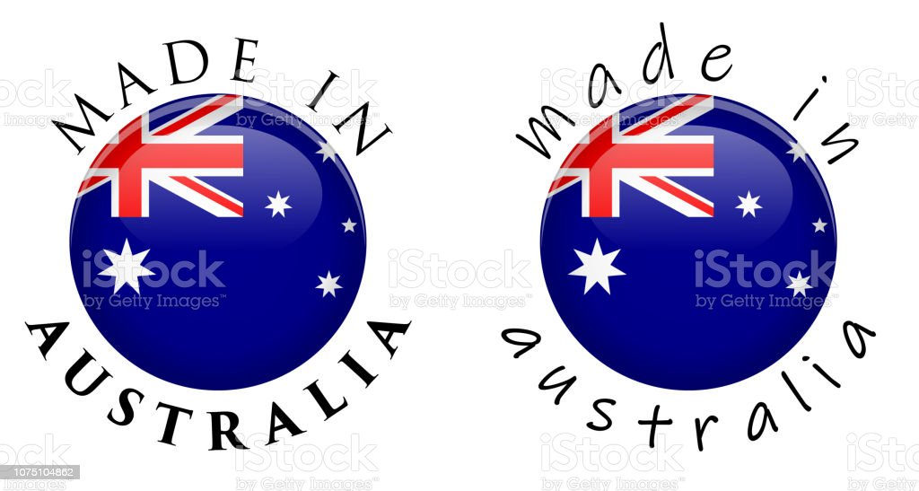 Simple Made In Australia 3d Button Sign Text Around Circle