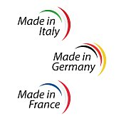 Simple Made in Italy, Made in Germany and Made in France, vector with Italian, German and French
