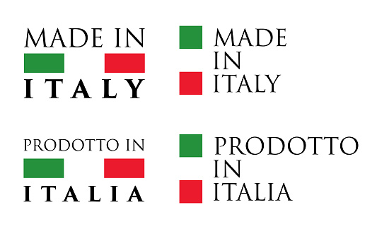 Simple Made in Italy / Prodotto in Italia (italian) label. Text with national colors arranged horizontal and vertical.