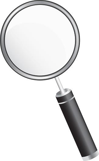 흰색 배경에서 간단한 돋보기 3차원 형태에 대한 스톡 벡터 아트 및 기타 이미지
