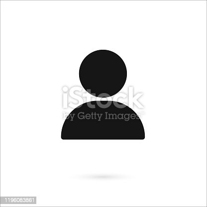 Simple man head on white background islolated.