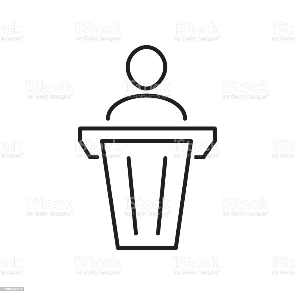 Simple man in pulpit line icon. Public speaking symbol and sign vector illustration design. Isolated on white background vector art illustration