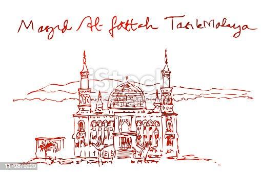 simple manual drawing sketchy al fattah, semarang, central java, brown gradient at white background