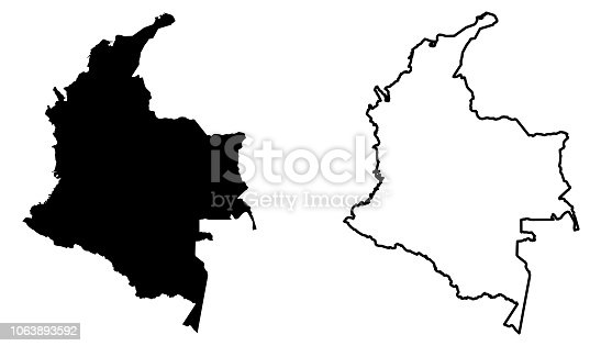 istock Simple (only sharp corners) map of Colombia vector drawing. Mercator projection. Filled and outline version. 1063893592