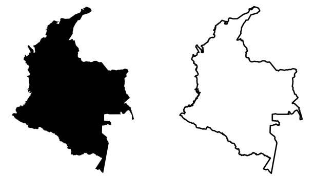 stockillustraties, clipart, cartoons en iconen met eenvoudig (alleen scherpe hoeken) kaart van colombia vector tekening. mercatorprojectie. gevuld en overzicht van versie. - colombia land