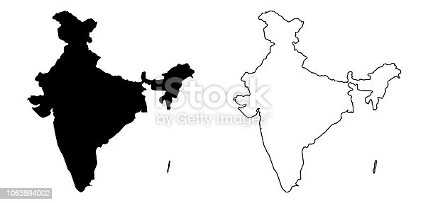 istock Simple (only sharp corners) map of India (including Andaman and Nicobar) vector drawing. Filled and outline version. 1063894002