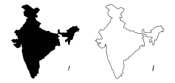 Simple (only sharp corners) map of India (including Andaman and Nicobar) vector drawing. Filled and outline version. vector art illustration
