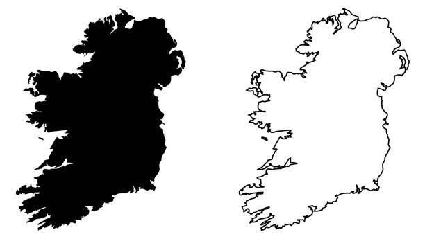 Simple (only sharp corners) map of Ireland (whole island, including northern British part) vector drawing. Mercator projection. Filled and outline version. vector art illustration