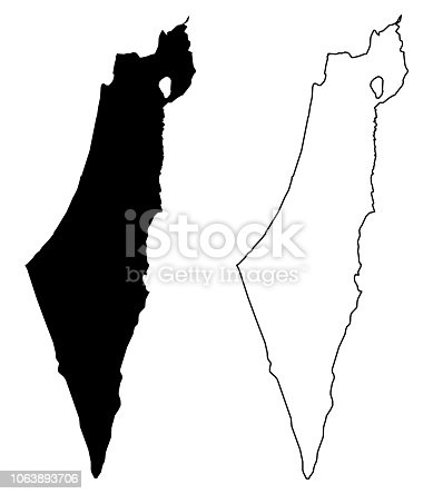 istock Simple (only sharp corners) map of Israel (including Palestine - Gaza strip and West bank) vector drawing. Mercator projection. Filled and outline version. 1063893706