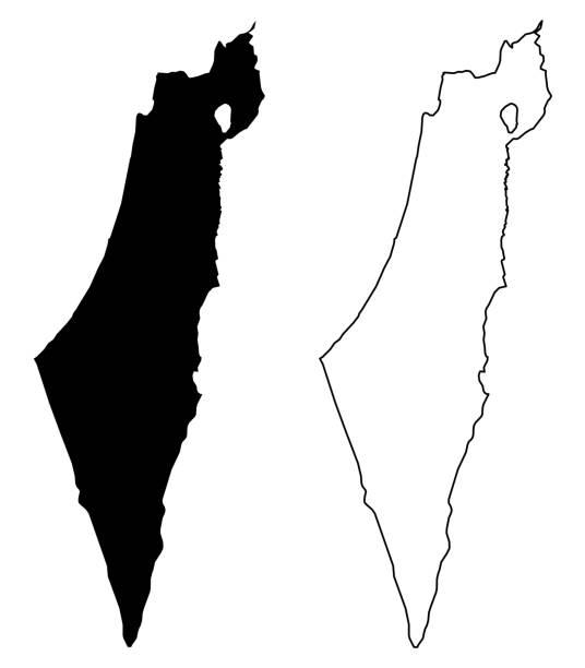 ilustrações de stock, clip art, desenhos animados e ícones de simple (only sharp corners) map of israel (including palestine - gaza strip and west bank) vector drawing. mercator projection. filled and outline version. - israel