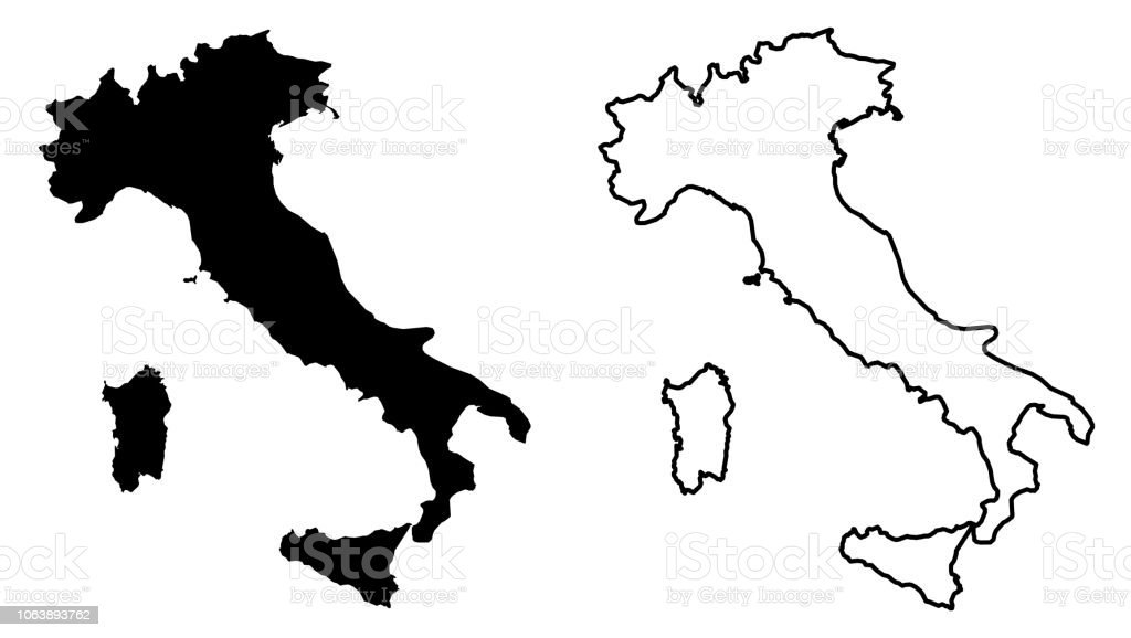 Simple Map Of Italy.Simple Map Of Italian Republic Vector Drawing Mercator Projection