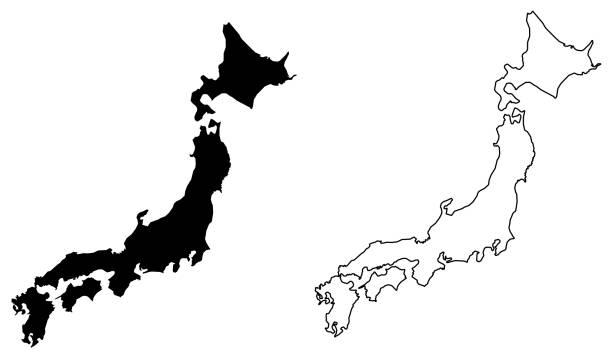 日本のベクトル描画の単純な (唯一の鋭いコーナー) マップ。塗りつぶしと輪郭を描かれたバージョンです。 - 日本 地図点のイラスト素材/クリップアート素材/マンガ素材/アイコン素材