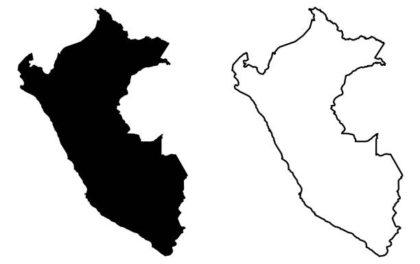 Simple (only sharp corners) map of Peru vector drawing. Mercator projection. Filled and outline version. vector art illustration
