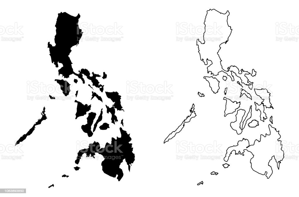 Simple Map Of Philippines Vector Drawing Mercator Projection Filled