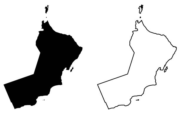 simple (only sharp corners) map of sultanate of oman vector drawing. mercator projection. filled and outline version. - oman stock illustrations