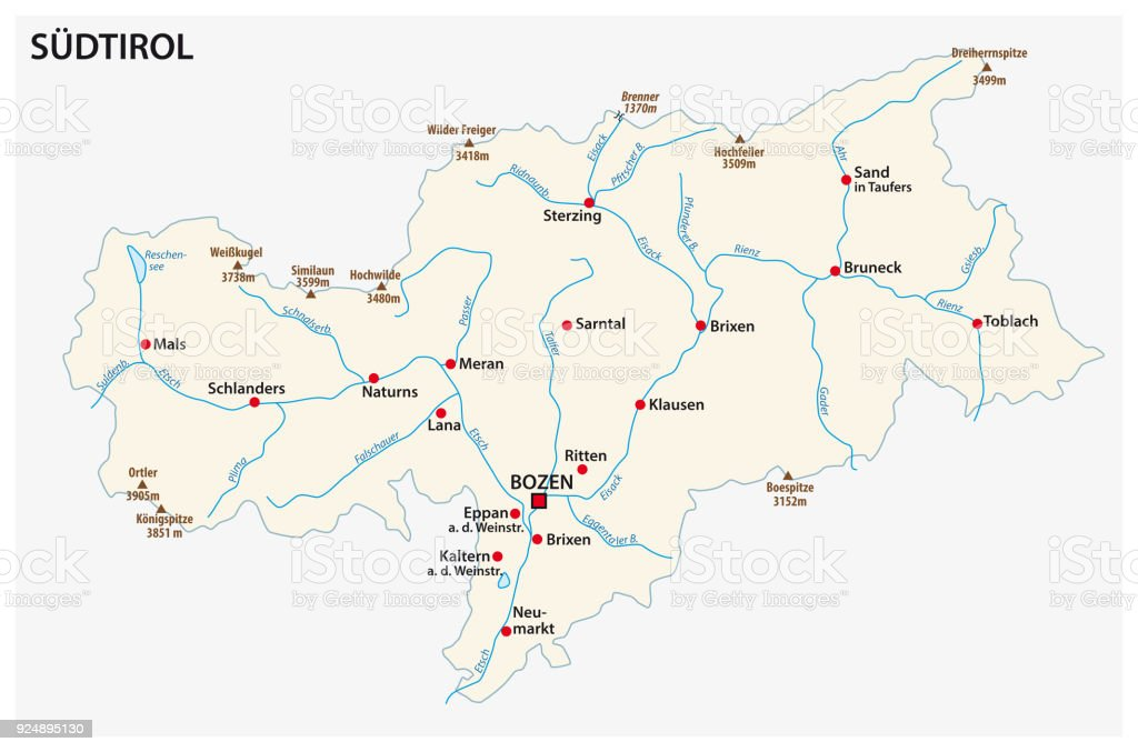simple map of the italian province of south tyrol in german language royalty free simple