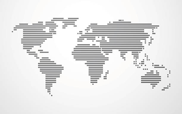 simple map of the world made up of black stripes vector art illustration