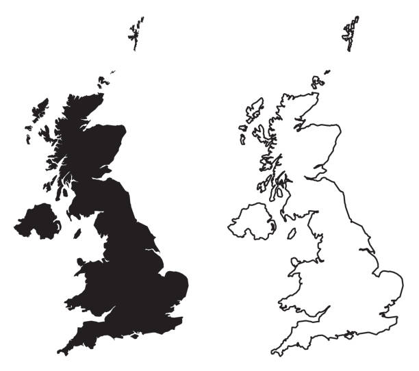 simple (only sharp corners) map of - united kingdom of great britain and northern ireland vector drawing. mercator projection. filled and outline version. - zjednoczone królestwo stock illustrations