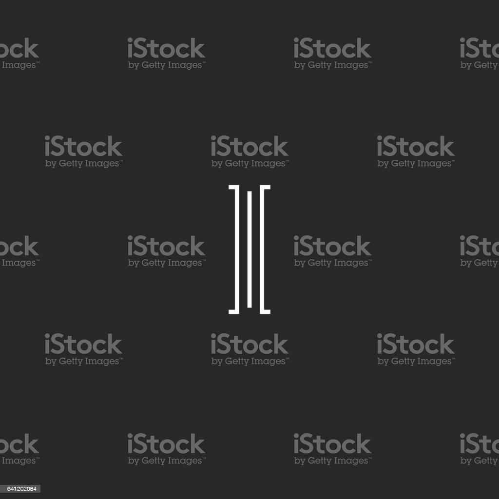Simple mediaeval monogram I letter logo, initial hipster emblem vector art illustration