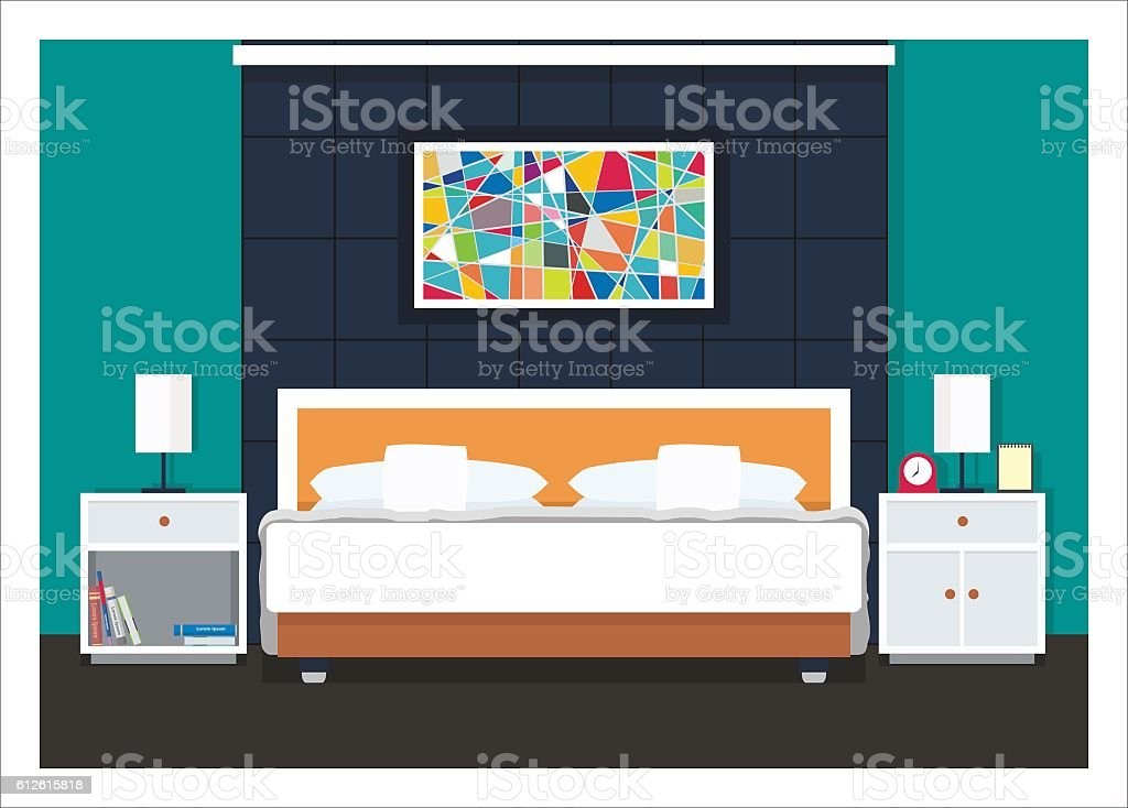 simple minimalist bedroom with abstract painting vector art illustration