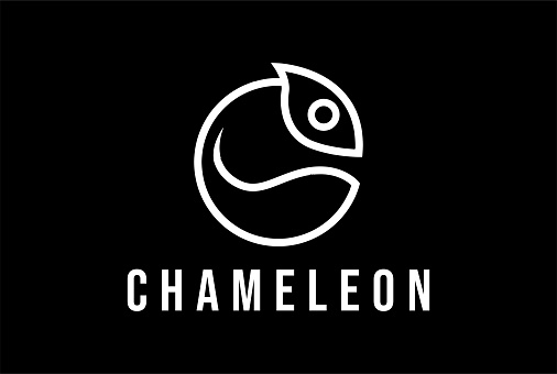 Simple Minimalist Circular Chameleon Head for Fashion Apparel Logo Design Vector